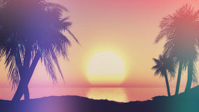 3D sunset landscape with retro effect Stock Image