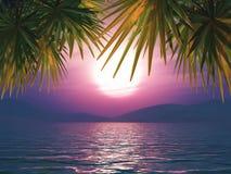 3D sunset ocean landscape Royalty Free Stock Photo