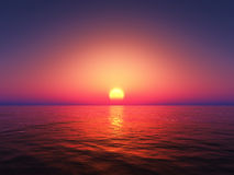 3D sunset sea Royalty Free Stock Images