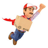 3D Super Delivery man with a box Royalty Free Stock Photos