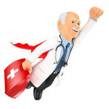 3D Super doctor flying with first aid kit Stock Images