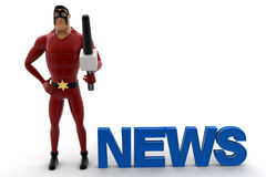 3d super hero acting as news anchor and holding mic concept Stock Images