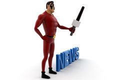 3d super hero acting as news anchor and holding mic concept Stock Photography