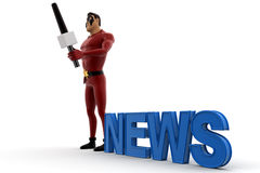 3d super hero acting as news anchor and holding mic concept Royalty Free Stock Images