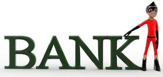 3d super hero bank / banking text concept Stock Photos
