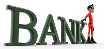 3d super hero bank / banking text concept Royalty Free Stock Images