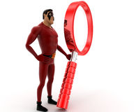 3d super hero with big red magnifying glass concept Royalty Free Stock Photo