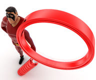 3d super hero with big red magnifying glass concept Stock Images