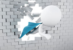 3d Super hero flying through broken brick wall. 3d illustration. Super hero with blue cape flying through broken brick wall Royalty Free Stock Photos