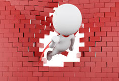3d Super hero flying through broken brick wall. 3d illustration. Super hero with red cape flying through broken brick wall Royalty Free Stock Photo
