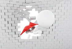3d Super hero flying through broken brick wall. 3d illustration. Super hero with red cape flying through broken brick wall Stock Photography