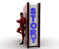 3d super hero man with big story book concept Royalty Free Stock Images