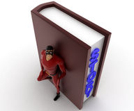 3d super hero man with big story book concept Stock Image