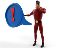 3d super hero man with blue chat bubble and red exclamation mark on it concept Royalty Free Stock Photo