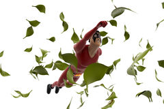 3d super hero man flying in storm concept Royalty Free Stock Photos