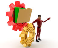 3d super hero man with gear cogwheel and folder concept Royalty Free Stock Photography