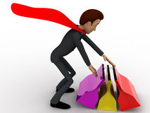 3d super hero man with many shopping bags concept Stock Photo