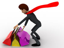 3d super hero man with many shopping bags concept Stock Photos