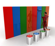 3d super hero man paint wall with paint roll and many paint buckets concept Royalty Free Stock Images