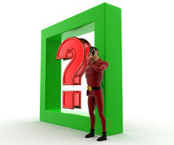 3d super hero man with question mark and green square concept Royalty Free Stock Photo