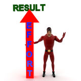 3d super hero man with result effort arrow in up direction concept Royalty Free Stock Images