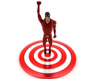 3d super hero man standing on target board concept Royalty Free Stock Image