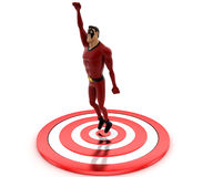 3d super hero man standing on target board concept Royalty Free Stock Photography