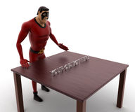 3d super hero man with table and your object here text concept Stock Photos