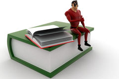 3d super hero sitting on book with open book concept Stock Photo