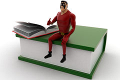 3d super hero sitting on book with open book concept Royalty Free Stock Images