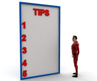3d super hero with tips list concept Stock Photography