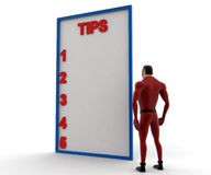 3d super hero with tips list concept Royalty Free Stock Photography