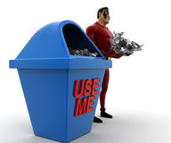 3d super hero with waste in hand and dustbin use me written on concept Royalty Free Stock Photography