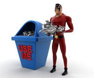 3d super hero with waste in hand and dustbin use me written on concept Royalty Free Stock Photo