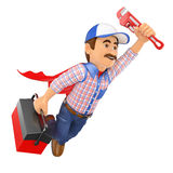 3D Super Plumber flying with toolbox and pipe wrench Royalty Free Stock Image