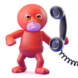 3d Superhero answers the phone Royalty Free Stock Photos