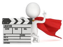 3D superhero with cinema clapperboard Stock Image