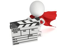 3D superhero with cinema clapperboard. Brave superhero with cinema clapperboard. 3D render isolated on white. Filmmaking and video production Stock Photo
