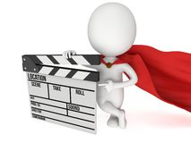 3D superhero with cinema clapperboard Royalty Free Stock Image