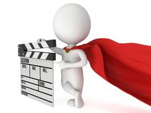 3D superhero with cinema clapperboard Royalty Free Stock Photography