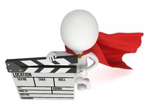 3D superhero with cinema clapperboard Stock Photo