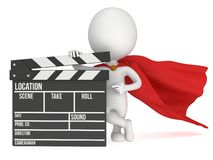 3D superhero with cinema clapperboard Royalty Free Stock Photos