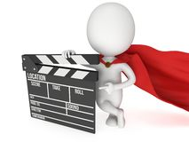 3D superhero with cinema clapperboard Stock Photography