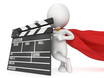 3D superhero with cinema clapperboard Royalty Free Stock Images