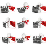 3D superhero with cinema clapperboard Royalty Free Stock Photo