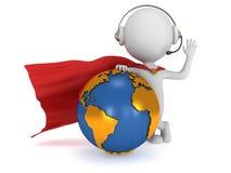 3d superhero global manager Stock Photo