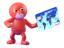 3d Superhero pays with a credit card Royalty Free Stock Photo