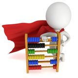 3d superhero with toy abacus Royalty Free Stock Image