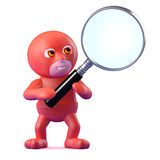 3d Superhero uses his super magnifying glass Royalty Free Stock Images