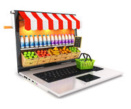 3d supermarket laptop. White background, 3d image Royalty Free Stock Image